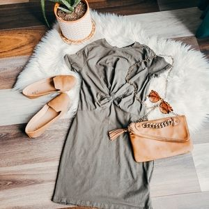 Green tied front dress